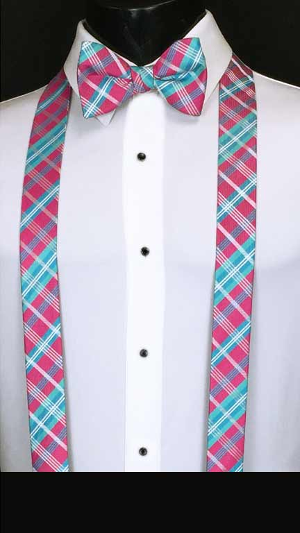 Plaid suspenders in blue, fuchsia, and white with matching bow tie