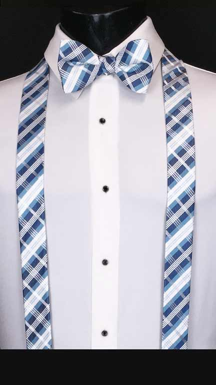 Plaid suspenders in blue, navy and white with matching bow tie