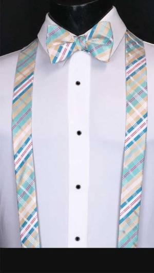Plaid suspenders in gold, blue and white with matching bow tie