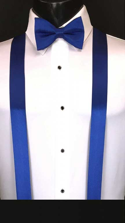 Royal Blue simply solid suspenders with matching bow tie