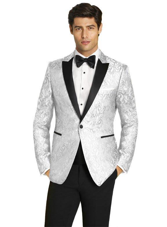 White Paisley Dinner Jacket with Black Peak Lapel