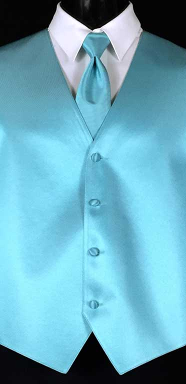 Turquoise Simply Solid Vest with Matching Windsor Tie