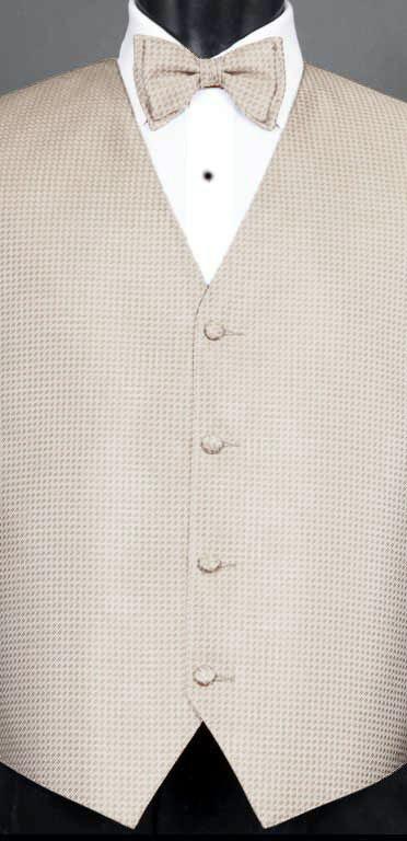 Champagne Devon vest with champagne devon bow tie