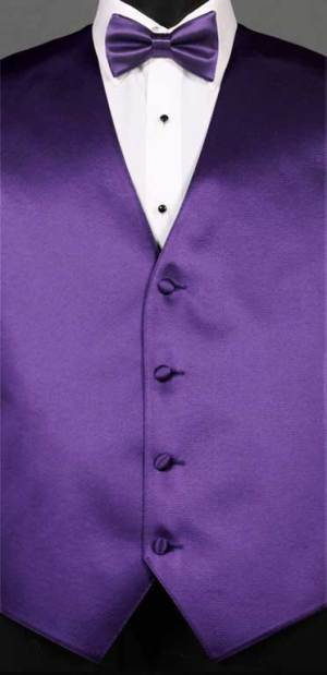 Purple simply solid vest with matching bow tie
