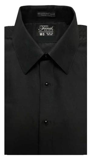 Black dress shirt in a laydown collar can be worn with a suit or tuxedo