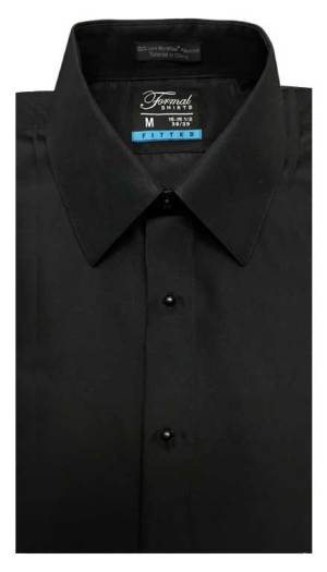 Black fitted shirt in a laydown collar can be worn with a suit or tuxedo