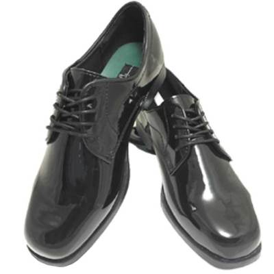 Black Genoa patent leather lace up shoe