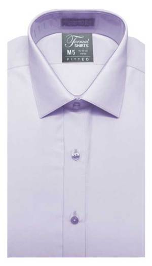 Lilac fitted shirt in a laydown spread collar can be worn with a suit or tuxedo