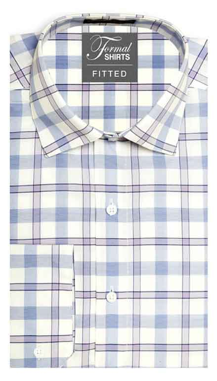 Blue and Lilac Plaid fitted shirt in a laydown spread collar can be worn with a suit or tuxedo