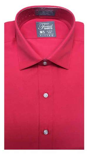 Red fitted shirt in a laydown spread collar can be worn with a suit or tuxedo