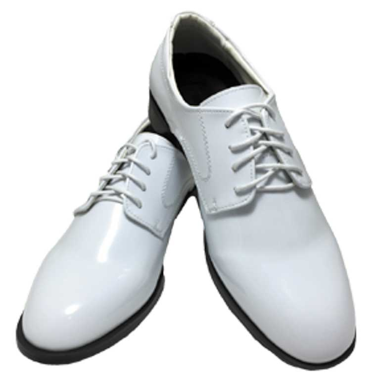 White Genoa patent leather lace up shoe