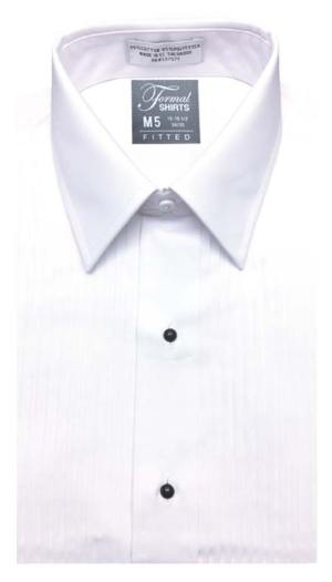 White pleated tuxedo shirt in a lay-down collar in a slim fit style