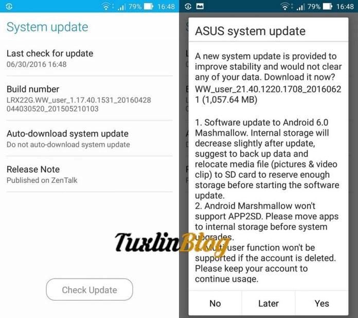 Langkah Update Android Marshmallow di Asus Zenfone 2 Laser ZE550KL