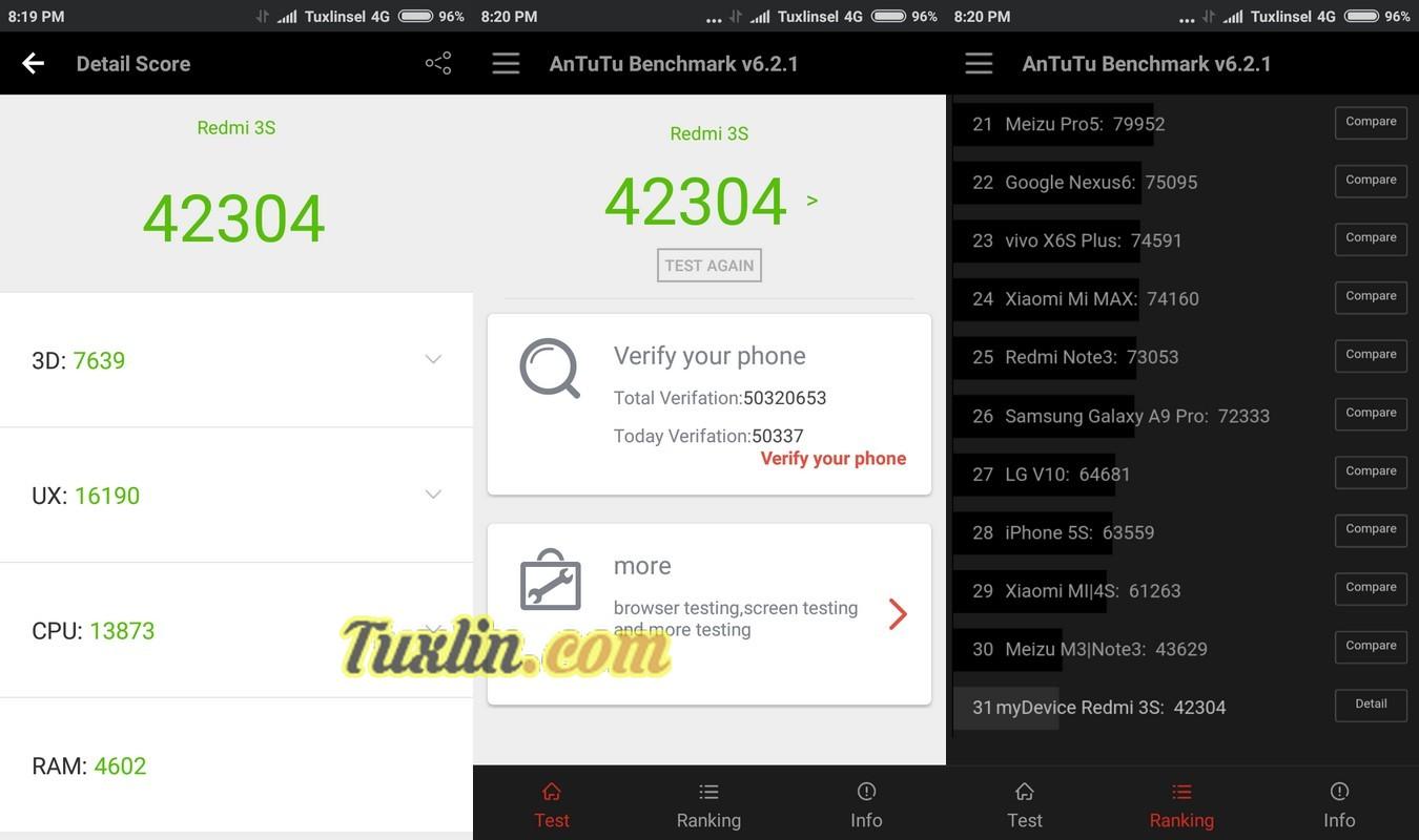 Benchmark AnTuTu v6 Xiaomi Redmi 3S