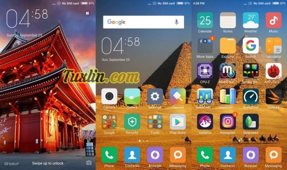 Tampilan Antarmuka Xiaomi Redmi 3S