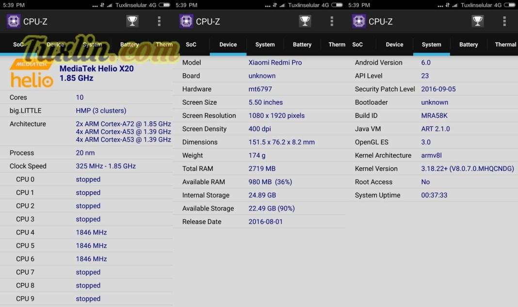 CPU-Z Xiaomi Redmi Pro