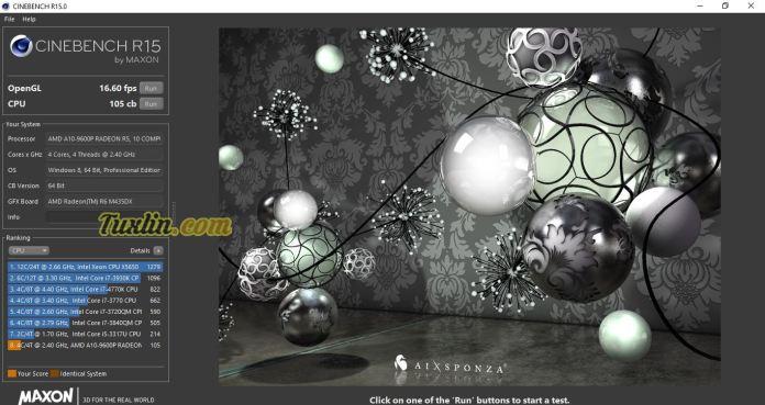 Benchmark Cinebench R15.0 Asus X555QG BX101D