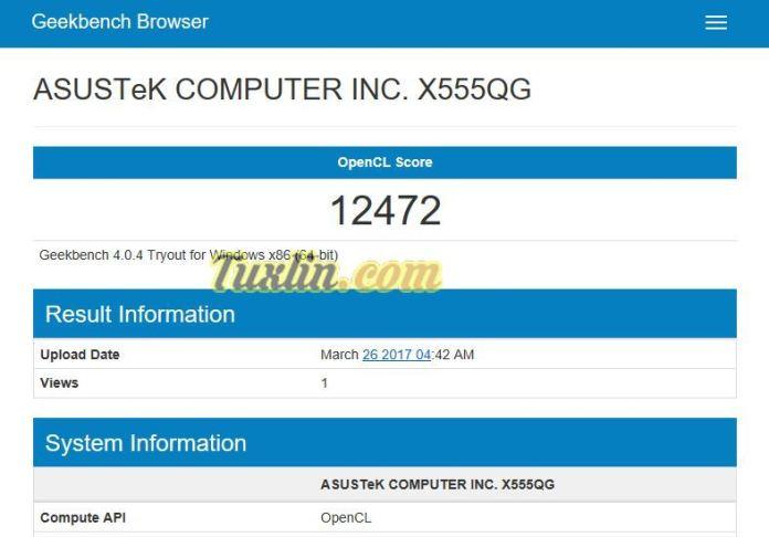Benchmark Geekbench 4 Compute Asus X555QG BX101D