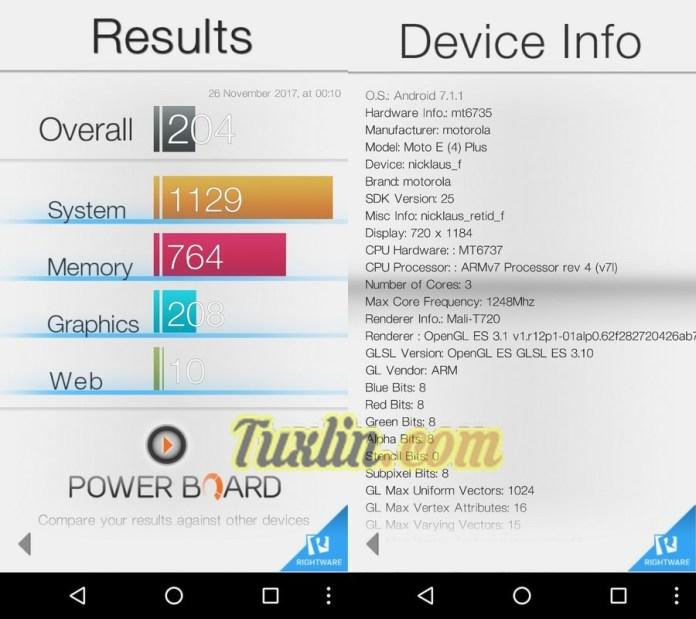 Benchmark Basemark OS II Motorola Moto E4 Plus