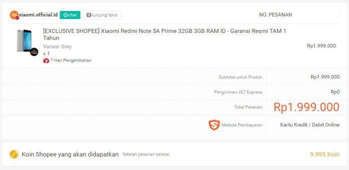Xiaomi Redmi 5A Prime order