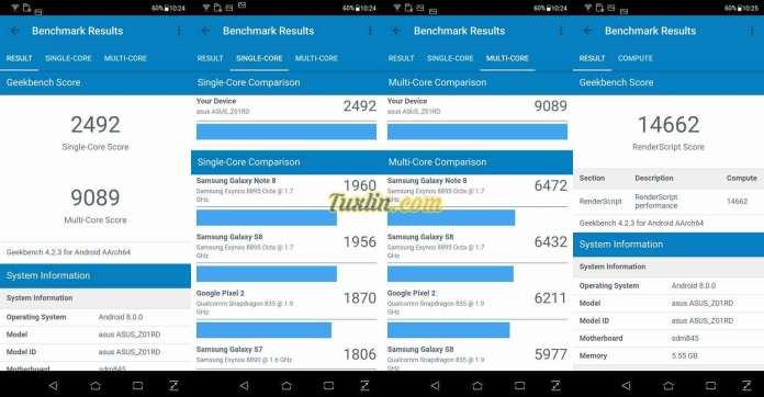 Benchmark Geekbench 4Asus Zenfone 5z