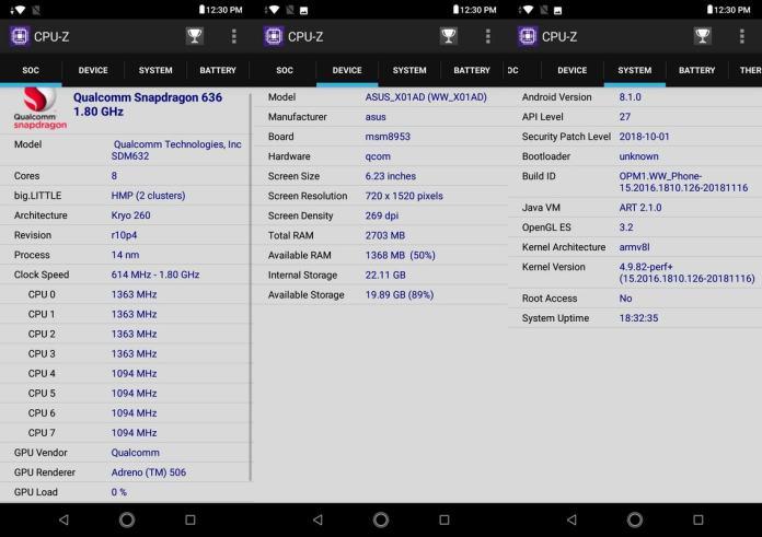 CPU-ZAsus Zenfone Max M2