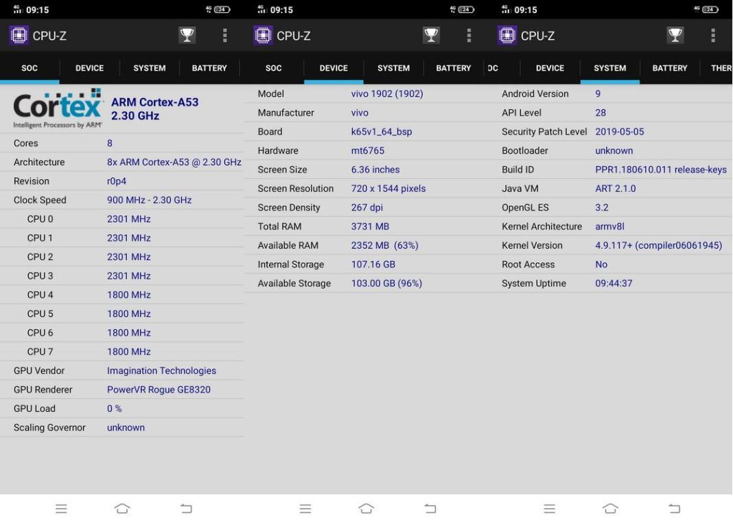 CPU-Z Vivo Y17