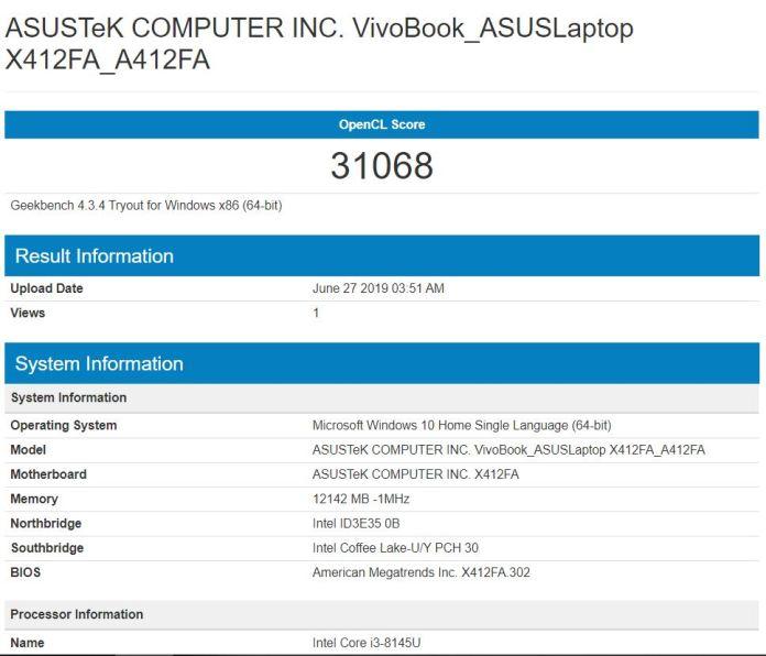 Benchmark Geekbench 4 Compute Asus Vivobook Ultra A412FA EK303T