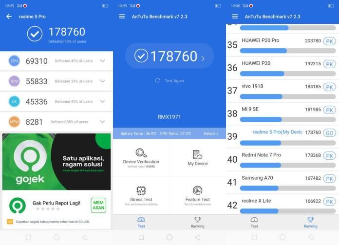 Benchmark AnTuTu v7 Realme 5 Pro