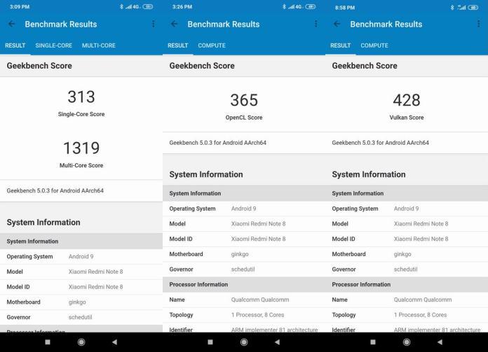 Benchmark Geekbench 5 Xiaomi Redmi Note 8