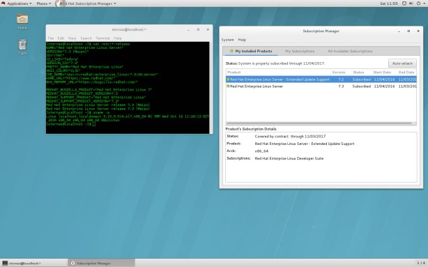Red Hat Enterprise Linux 7.3, GNOME 3, Desktop.