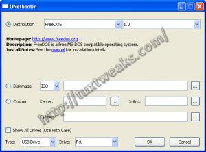UNetbootin on Windows with FreeDOS