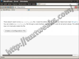 WordPress install step 1
