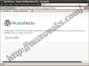 WordPress install step 4
