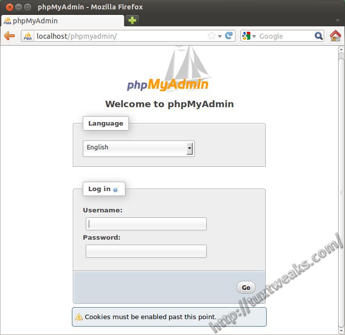 phpmyadmin blank screen