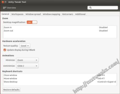 Unity Tweak Tool Window Manager General Settings