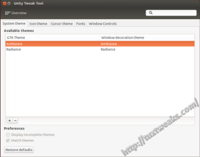 Unity Tweak Tool Appearance System Theme Settings