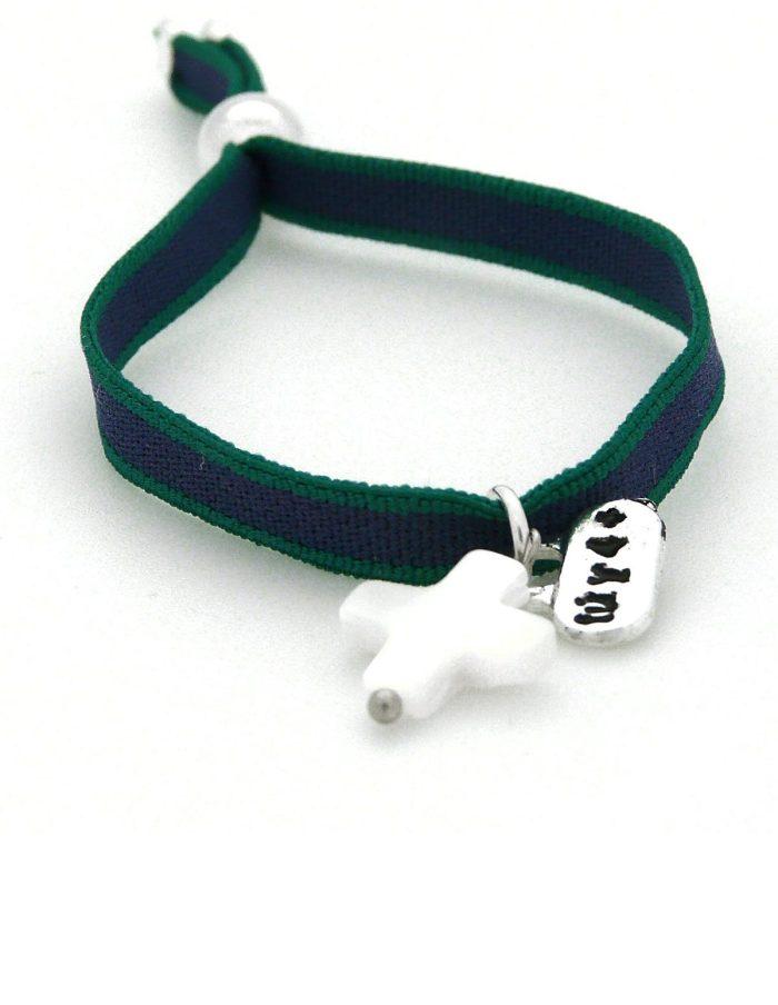 Pulsera cruz nacar cinta verde y azul