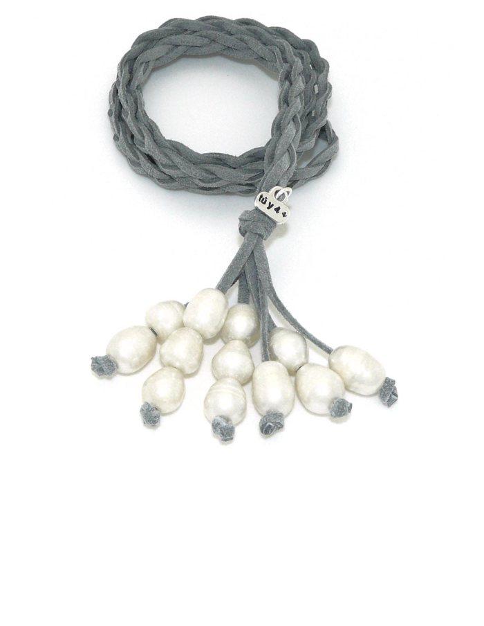 Collar racimo perlas gris claro