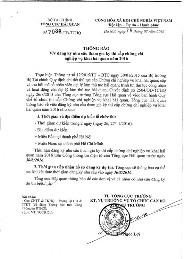 lịch thi chứng chỉ nghiệp vụ hải quan