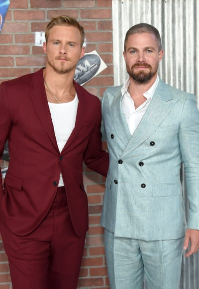 Alexander Ludwig and Stephen Amell at the Heels Premiere