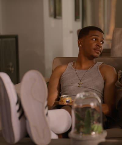 Jamal Chills with Chivo - tall - On My Block Season 4 Episode 8