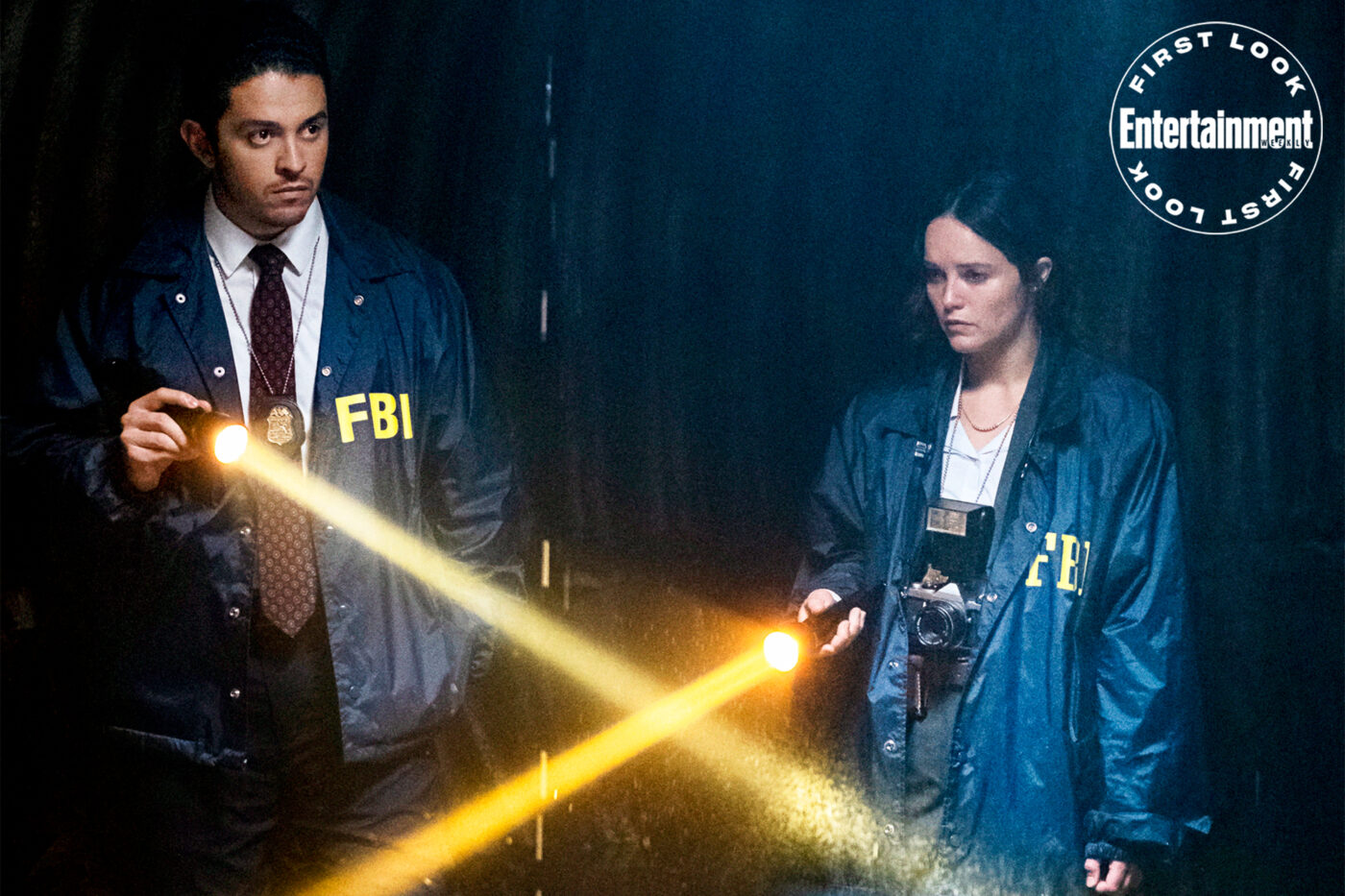 CLARICE Pictured (L-R) Lucca De Oliveira as Tomas Esquivel and Rebecca Breeds as Clarice Starling