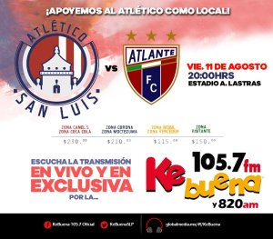 Atlético San Luis vs Atlante en Vivo Ascenso MX 2017