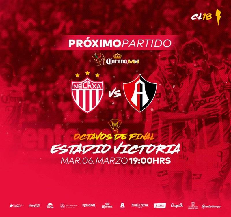 Necaxa vs Atlas en Vivo Copa MX 2018