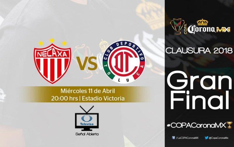 ver la final Necaxa vs Toluca en Vivo Copa MX 2018