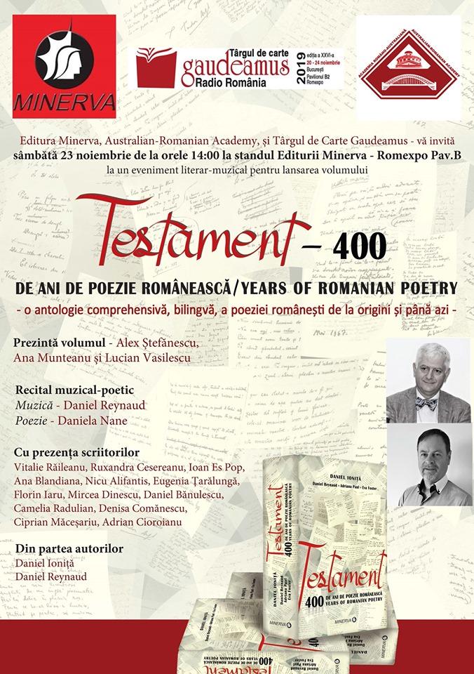 București – Lansare de Carte Testament 400 Târgul de Carte Gaudeamus, Daniel Ioniță, Nov 23, 2019