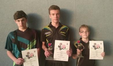 Siegerehrung Jungen-Klasse - Simon Müller, Alex Schessler, Jeremy Bier