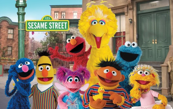 Grover, Bert, Zoe, Elmo, Ernie, Big Bird, Cookie Monster, Abby, together, 3/4 body pose, facing forward.