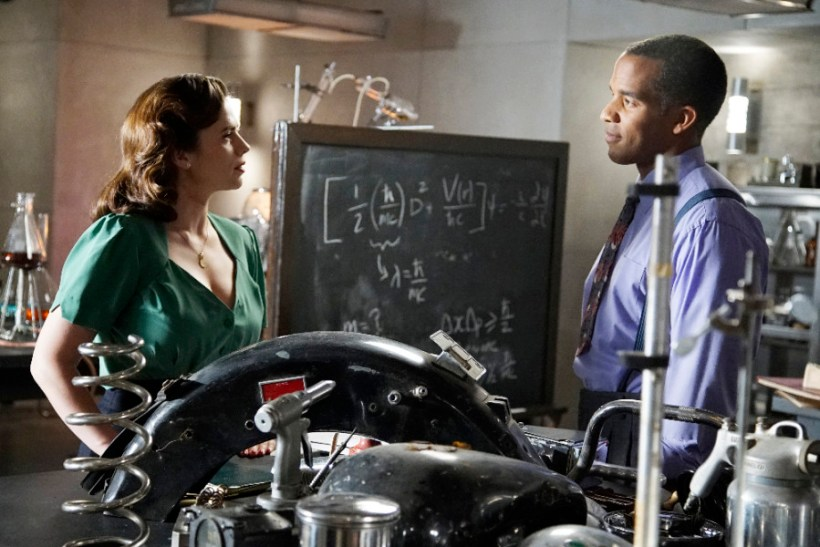 "Agent Carter 2x03 ""Better Angels"" -- Pictured -- Hayley Atwell as Agent Peggy Carter and Reggie Austin as Dr. Jason Wilkes"